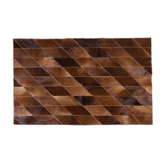 "Modern Cowhide Patchwork Area Rug - 7'1""x4'3"""