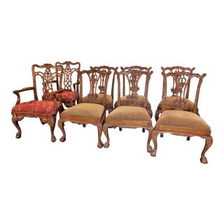 Maitland Smith Carved Mahogany Dining Chairs Set - Set of 8