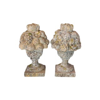 French Limestone Garden Baskets - a Pair