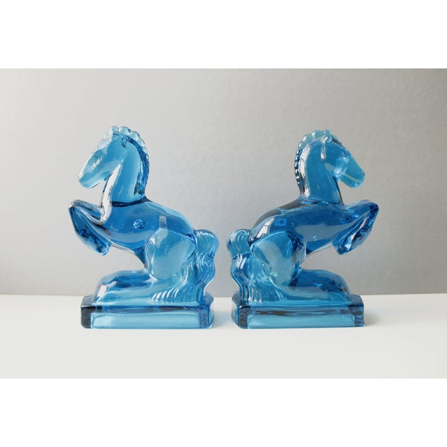 Mid-Century Blue Glass Horse Bookends- A Pair - Image 2 of 5