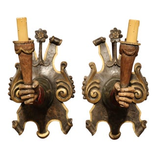 Early 20th Century Spanish Hand-Carved and Painted Wall Sconces - a Pair
