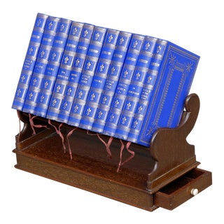 Miniature Mahogany Book Stand and Eleven Books