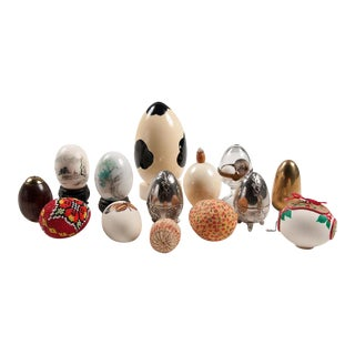 Mid-Century Art Egg Set With Holiday, Silver-Plate, Beaded Eggs - Set of 14