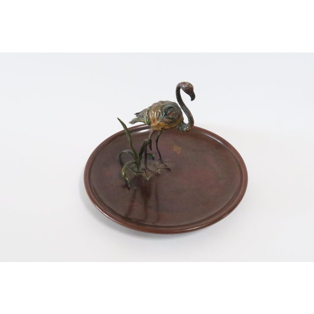 Image of Flamingo Accented Metal Dish