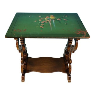 Vintage Hand Painted Bird Motif Wooden Accent Table