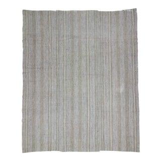 Vintage Turkish Modern Striped Gray Kilim Rug- 9′7″ × 11′8″