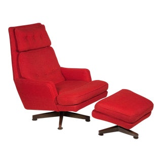 Edward J Wormley Red Lounge Chair & Ottoman