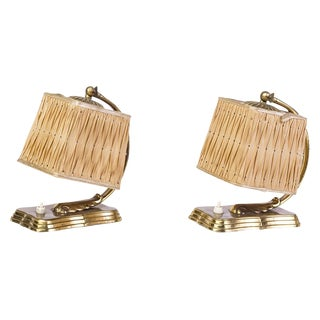 1940s Silk & Brass Hollywood Regency Bedside Lamps - A Pair