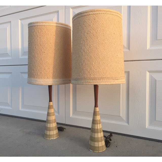 Mid-Century Ceramic & Walnut Lamps - Pair - Image 8 of 10