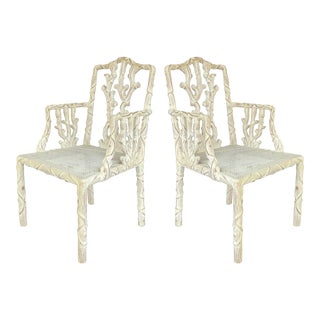 Carved Wood Faux-Bois Cane Chairs - A Pair