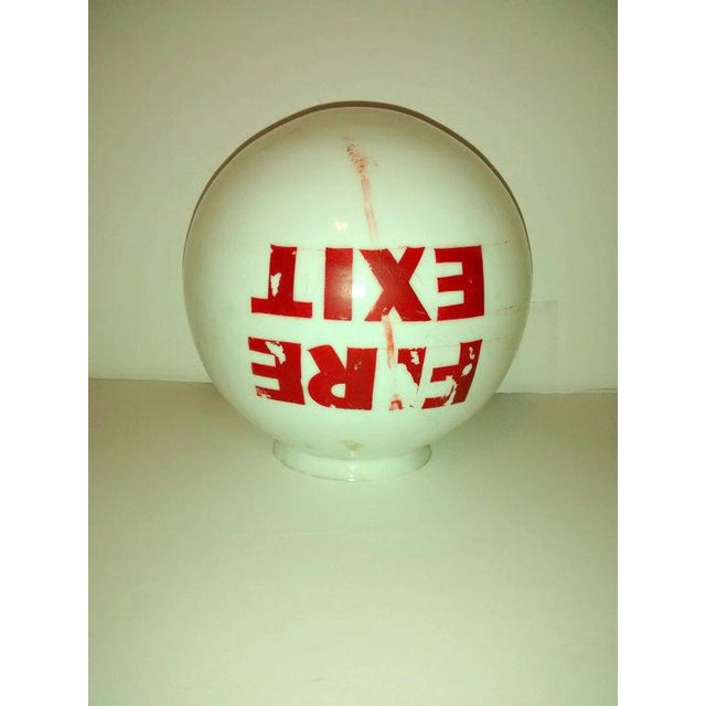 Old Mid-Century Fire Exit Glass Shade From Theater - Image 3 of 5