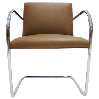 Mies van der Rohe Brno Tubular Lounge Chair in Leather