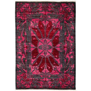 "Contemporary Floral Black & Pink Hand Knotted Area Rug - 4'1"" X 5'10"""