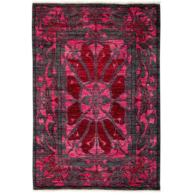 Contemporary Floral Black Amp Pink Hand Knotted Area Rug 4