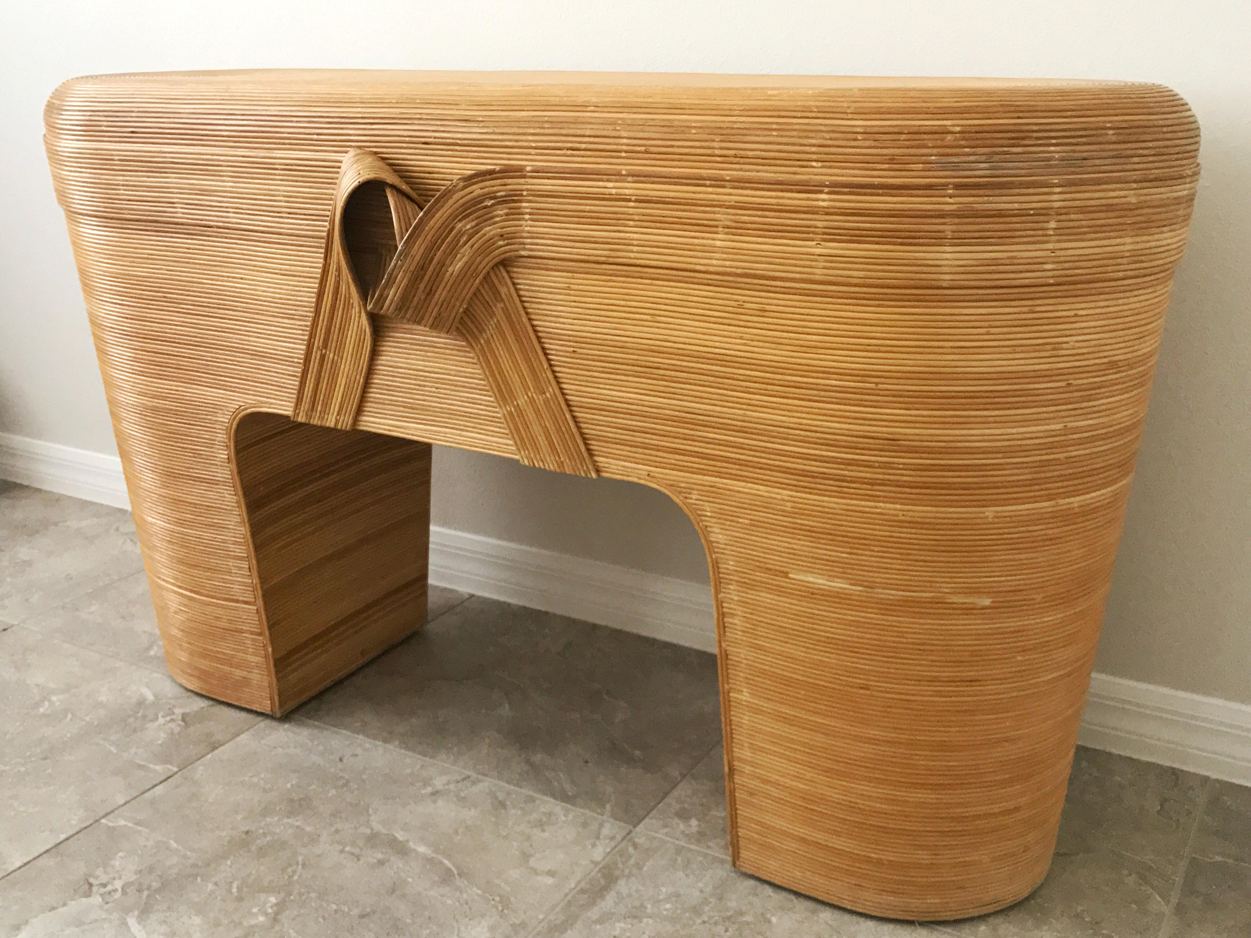 Vintage Pencil Reed Rattan Console Table   Image 4 Of 9