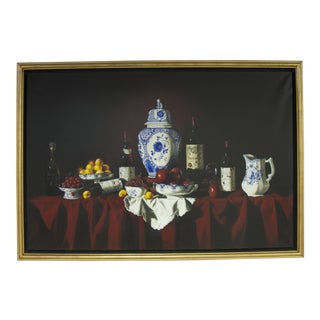 """""""Les Fruits Et Les Bouteilles"""" French Oil Painting"""