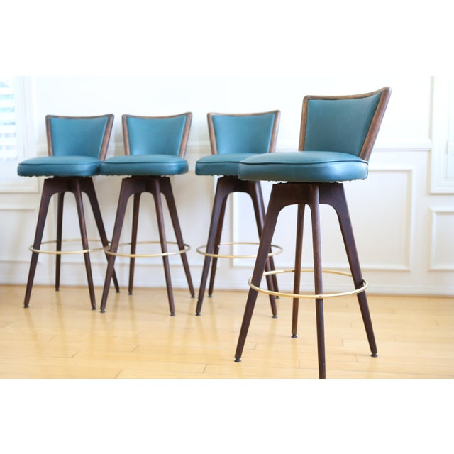 Mid Century Modern Vintage Swivel Bar / Counter Stools - Set of 4 - Image 7 of 9