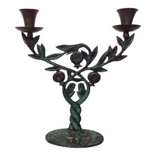 Mid-Century Israeli Patinated Brass Candelabra