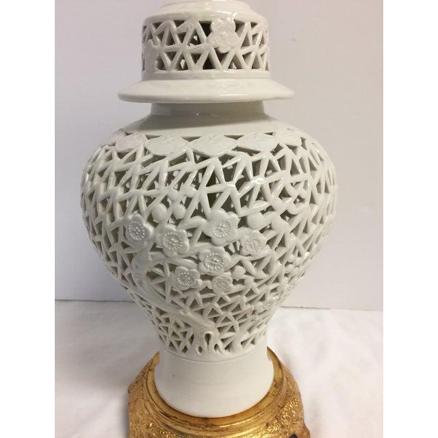 Blanc De Chine Ginger Jar Lamp on Gilt Base - Image 3 of 5