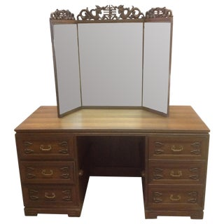 Chinoiserie Carved Teak Vanity