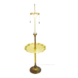 Vintage Stiffel Floor Lamp with Brass Pie Crust Table Top
