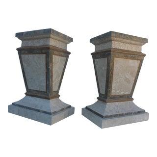 Maitland Smith Fossil Stone Pedestals - Pair