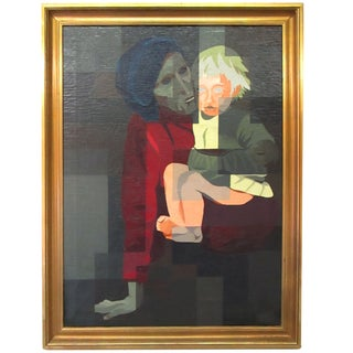 Dark Oil Painting of Mother and Child