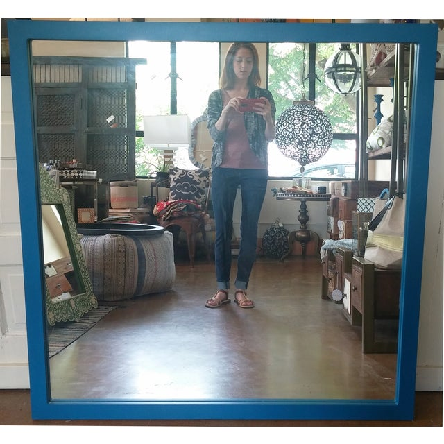 Image of Large Square Blue Mirror