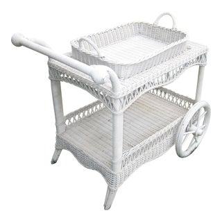 Antique Style Wicker Tea Cart