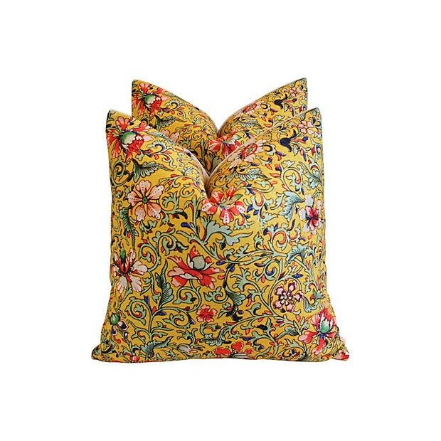 Colorful Asian Floral Linen Pillows - a Pair - Image 4 of 7