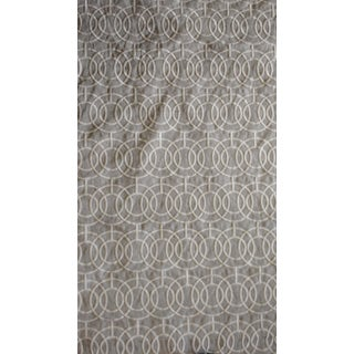 Gray White Embroidered Linen Fabric - 34ʺ × 54""