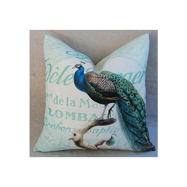 Image of French Script Linen Pillow with Peacock
