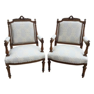 Antique French Walnut Armchairs - A Pair