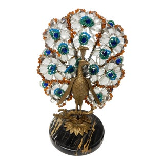 Crystal, Bronze & Marble Peacock Table Lamp