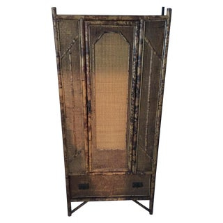 Antique Tortoise Shell Bamboo Armoire