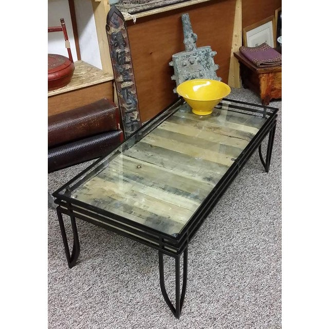 Amazon Coffee Table With Beveled Glass Top And Black Metal: Rustic Glass Top Coffee Table With Wood