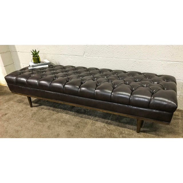Mid Century Modern Chesterfield Tufted Walnut Bench - Image 4 of 6