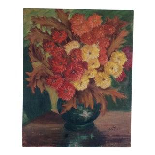 1960s 'Autumn Flowers' Painting