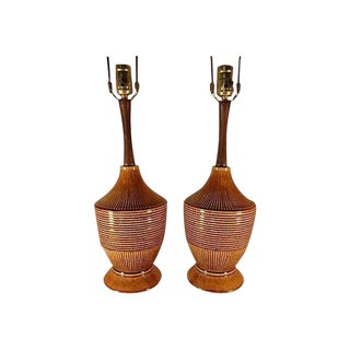 Mid-Century Danish Ceramic Lamps - A Pair