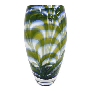 Murano Style Marbled Art Glass Vase