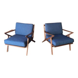 Mid-Century Selig Style Walnut Chairs - A Pair