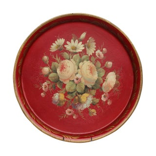 Antique French Round Tole Tray