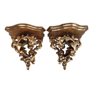 Gilt-Wood Wall Brackets - A Pair