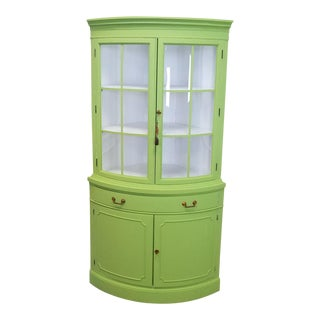 Lime Green & White Drexel Curved Glass Corner Cabinet