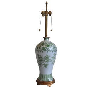 Marbro Green & White Porcelain Lamp