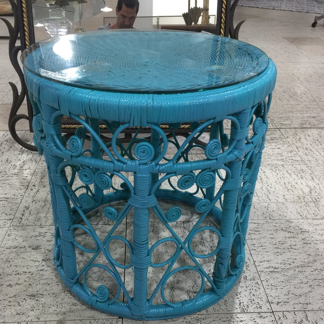 Blue Wicker Drum Table - Image 2 of 9