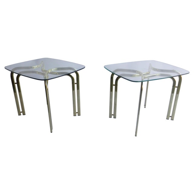 Milo Baughman Brass and Glass End Table - A Pair - Image 1 of 6