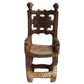 Asante Carved Wood Nail Head Decorated Chief Chair