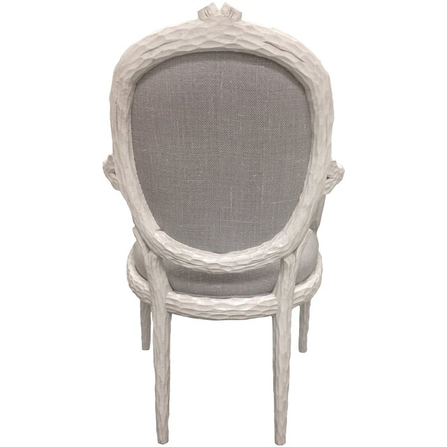Image of White Faux-Bois Armchairs - A Pair