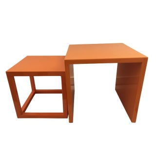 Jonathan Adler Orange Nesting Tables - A Pair